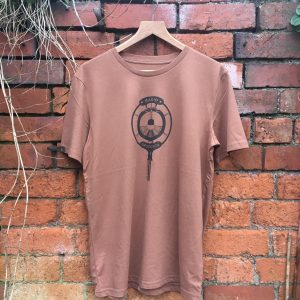 Brown ink on Caramel tshirt