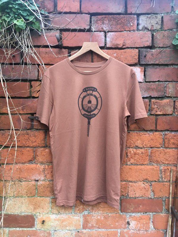 Brown ink on Caramel tshirt